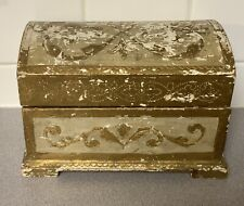 Vintage FLORENTINE GILT Italian Wood Toleware Trinket BOX Chippy Gold & White
