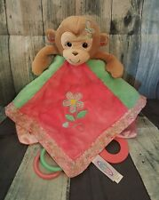 Mary Meyer Baby Pink/Green Monkey Activity Lovey/Security Blanket