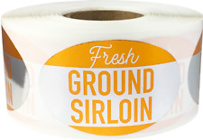 Fresh Ground Sirloin Grocery Food Stickers, 1.25 x 2 Inches, 500 Labels Total