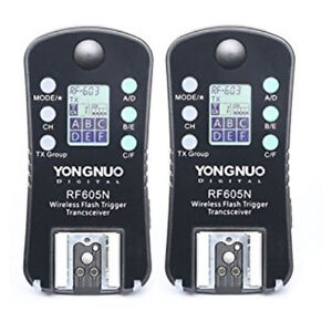 YONGNUO RF605N RF605 RF-605 Flash Trigger Stroboscopique Avec LCD For Nikon 2pcs
