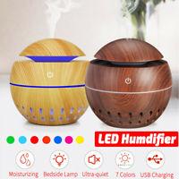 LED Lumières USB Électrique Humidificateur d'air Diffuseur Arôme Huile En Bois