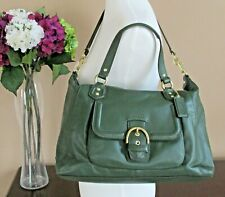 Coach Campbell Forest Green Leather Large Satchel Shoulder Bag Handbags F25151