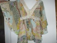 American Rag blue pink yellow empire bell sleeve lace peasant boho hippie shirt