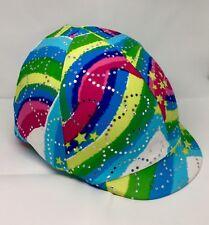 Horse Helmet Cover Rainbow Lycra AUSTRALIAN  MADE