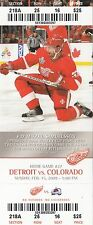 2009 DETROIT RED WINGS VS COLORADO AVALANCHE 2/15 TICKET STUB MIKAEL SAMUELSSON