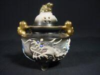 Dragonware Censor Incense Burner Porcelain Foo Dog Finial & Handles