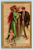 COUPLE & CHILD ANGEL - UNUSED EARLY 1900s VALENTINES DAY POSTCARD - TRUE VTG
