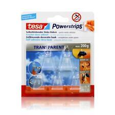 tesa Powerstrips Selbstklebende Deko Haken - Transparent für max. 200g Gewicht