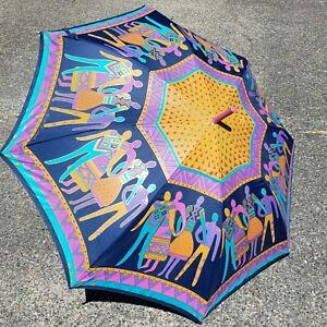 "Laurel Burch Stick Umbrella The Art of Being Human Pushbutton Large 42"""