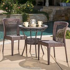 Outdoor Patio Dana 3pc Brown All-Weather Wicker Glass Table Top Bistro Set