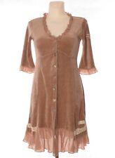 ODD MOLLY Women's Brown Velvet Long Sleeve Cardigan Tunic Button 3/4 Sleeve sz 1