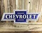 "Chevrolet Chevy Emblem Logo Bow Tie 24"" Embossed Metal Tin Sign Vintage Garage"