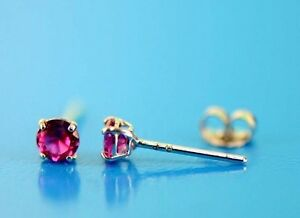 14K White Gold 3mm Round Birthstone Stud Earrings with Push back