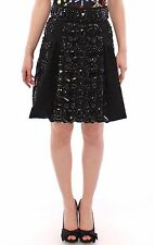 NWT $16000 DOLCE & GABBANA Black Crystal Handmade Above Knee Skirt s. IT42 / US8