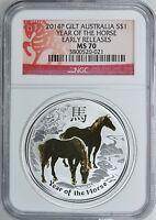 Australia 2014-P S$1 Gilt Silver Horse Early Releases NGC MS-70 Australian MS 70