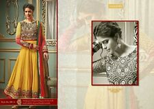 Manjula Designer Anarkali Style Mustard Semi Stitched Suit Stunning Design Dress