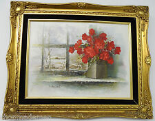 Jacques Brissaud France signed Original Antique late 1800's oil painting Flowers