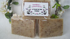 "HANDMADE NATURAL VEGAN SOAP, ""A WALK IN THE WOODS"" BARS,  3.5 to 4 oz ea."