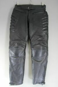 SKINTAN BLACK LEATHER BIKER TROUSERS WITH CE ARMOUR WAIST 34 IN/INSIDE LEG 31 IN
