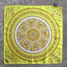 "GIANNI VERSACE yellow & ivory silk neck scarf / bag twilly Baroque print 17"" inc"