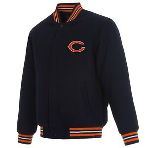 NFL Chicago Bears JH Design Wool Reversible Jacket Navy with 2 Front  Logos