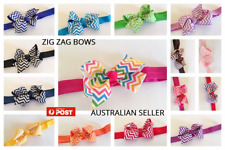 "3"" inch  Hair ZIG ZAG  Bow  HEADBAND Baby Toddler Girl Kids Grosgrain  - NEW"