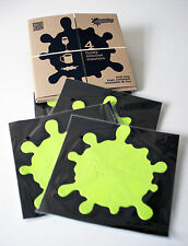 Set of 4 GREEN Coasters Anti-Slip FUNKY SPLATS & Box - Gift, Novelty, Fun