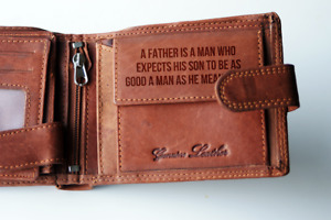 Personalised ANY Message Engraved Tan Leather Wallet RFID Birthday Mens Gift