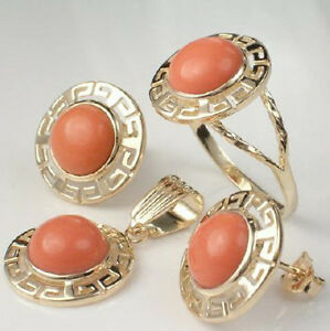 10K Solid Yellow Gold Matching Coral Earrings, Pendant & Ring #S219