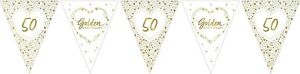 Golden Wedding Party Bunting Decoration Sparkling Shiny 50th Anniversary Banner