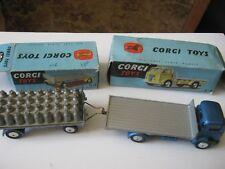 CORGI 454 101 COMMER LORRY & PLATFORM TRAILER NICE ORIGINALS IN AGE WORN BOXES