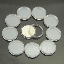 Hot 10pcs 25mm Clear Round Cases Coin Storage Capsules Holder Round Plastic