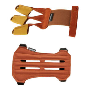 Cow Leather Archery 3 Finger Glove &Arm Guard Set Protector Gear for Bow Hunting