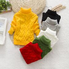 New Children Girls Kids Boys Turtleneck Sweater Knitted Jumper Clothes  Outwear