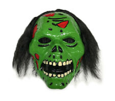 Green Zombie Mask with Hair Scary Horror Halloween Fancy Dress Costume