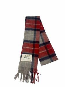 Barbour NWT Tartan Merino Wool & Cashmere Scarf Red & Grey