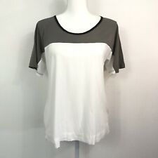James Perse Los Angeles Womens SS Blouse Sz 1 White Gray