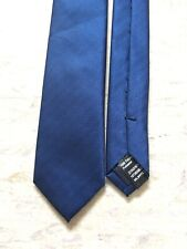 "Burton navy blue skinny subtle striped polyester smart tie 1.75"" wide 57"" long"