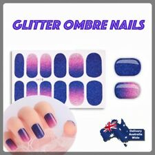 Violet Blue Glitter Gradient Ombre Nail Stickers Full Cover Wrap Decals