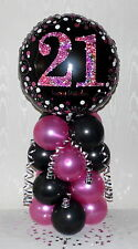 21st BIRTHDAY -AGE 21 - FEMALE - FOIL BALLOON DISPLAY-TABLE CENTREPIECE- BANNER
