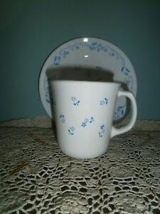 1 x CORNING CORELLE MUG/CUP & SIDE PLATE ~ PROVINCIAL BLUE PATTERN ~ RETRO