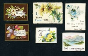 6 X VICTORIAN GREETINGS CARDS/SCRAPS RELIGIOUS SCRIPTURE MOTTO CARD