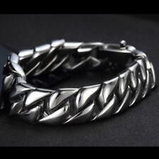 "Steel Curb Chain Bangle Bracelet 8.66"" 15mm Cool Biker Men's 316L Stainless"