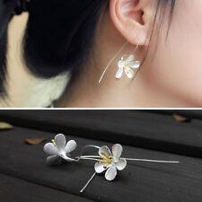 Women Flower Long Tassel Earrings Thai Process Elegant Lady silver jewelry