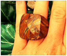 Chocolate GRANDE PIETRA ORIGINALE OCCHIO DI TIGRE SFACCETTATO marrone anello