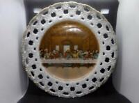 Vintage Hand Painted Lefton China Last Supper Plate ~ Pierced Edge ~ Gold Trim