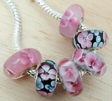 Pink Lavender Orchids Black Blue Flowers Single Core European Murano Glass Beads