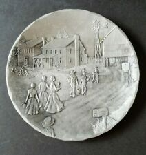 "Wendell August Hand Forged Aluminum 5.75"" Plate / Dish - Amish Farm Scene"