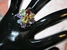 Vintage STERLING SILVER RING* Multi-Colored FLOWER design Cocktail Ring*sz8*0957