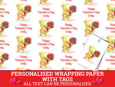 Personalised Valentine's Day Wrapping Paper - Cute Bear and Red Roses Love
